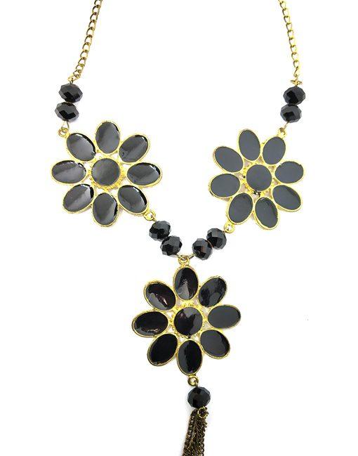 Black Golden Flower Necklace for Women