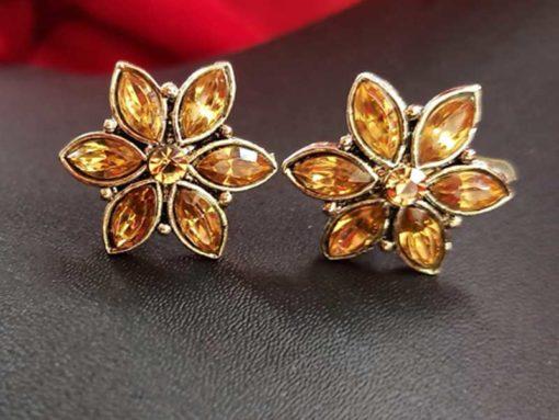 Trendilook Oxidized Silver Kundan Stud Earring