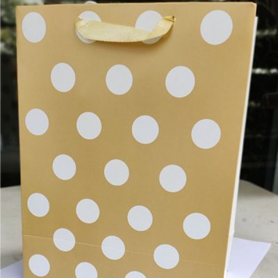 Trendilook Golden Shining Gift Paper Bag with White Dots