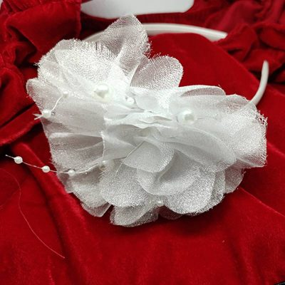 Trendilook White Stylish Kids Lace Hairband for Party