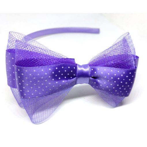 Trendilook Purple Bow Ribbon and Net Hairband