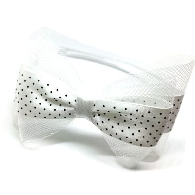 Trendilook White Bow Ribbon and Net Hairband