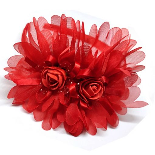 Trendilook Red Party Wear Double Flower Lace Hairband