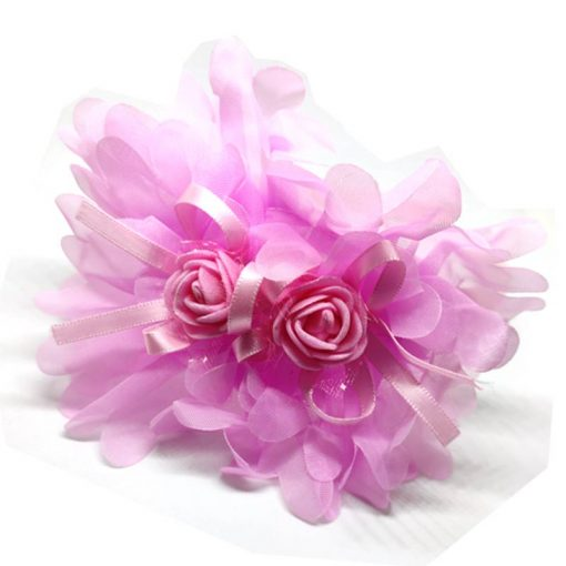 Trendilook Baby Pink Party Wear Double Flower Lace Hairband