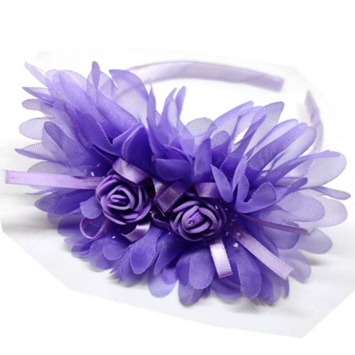 Trendilook Purple Party Wear Double Flower Lace Hairband