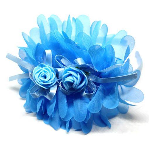 Trendilook Blue Party Wear Double Flower Lace Hairband