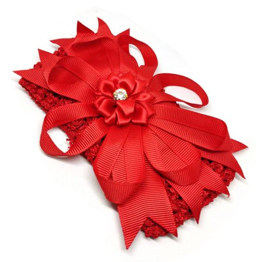 Trendilook Red Elastic Flower with Stone Hairband