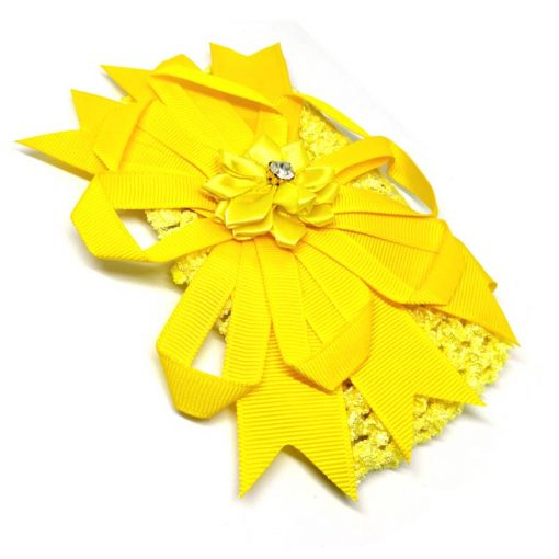 Trendilook Yellow Elastic Flower with Stone Hairband