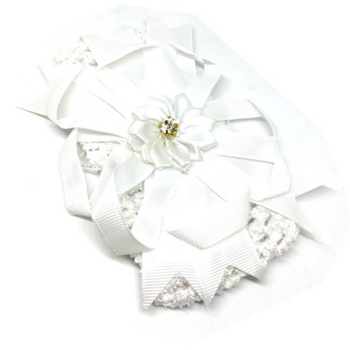 Trendilook White Elastic Flower with Stone Hairband