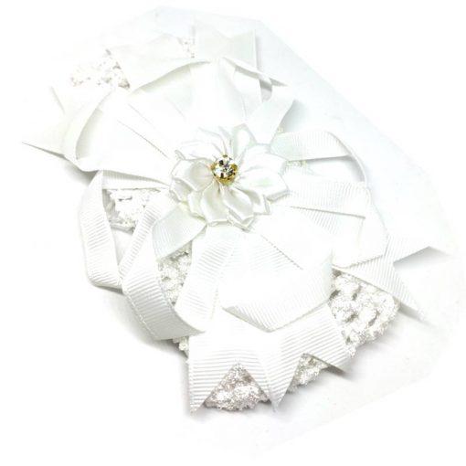 Trendilook White Elastic Flower with Stone Hairband
