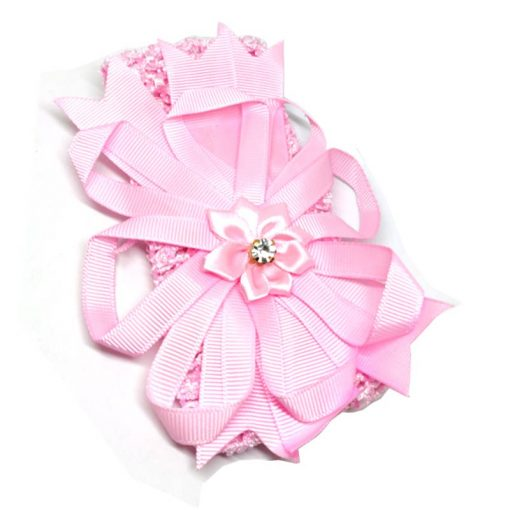 Trendilook Pink Elastic Flower with Stone Hairband