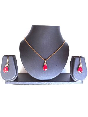 Trendilook Stylish Maroon Artificial Diamond Necklace and Earring Set