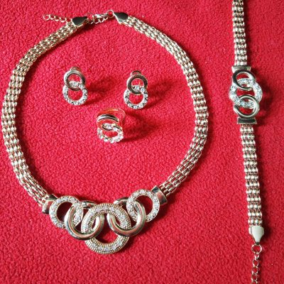 Trendilook Stylish Gold Necklace Set With Finger Ring and Bracelet