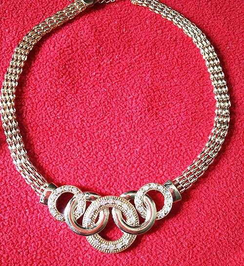 Trendilook Stylish Gold Necklace Set With Finger Ring and Bracelet