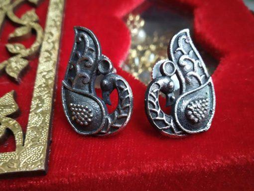 Trendilook German Silver Peacock Stud Earring