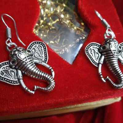 Trendilook German Silver Ganesha Drop Earring