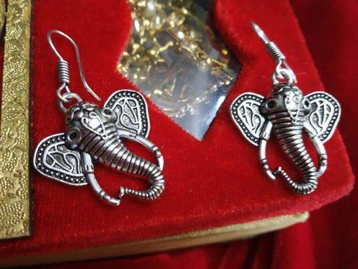 Trendilook German Silver Ganesha Drop Earring