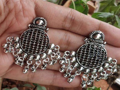 Trendilook Oxidized Silver Cute Jhumki