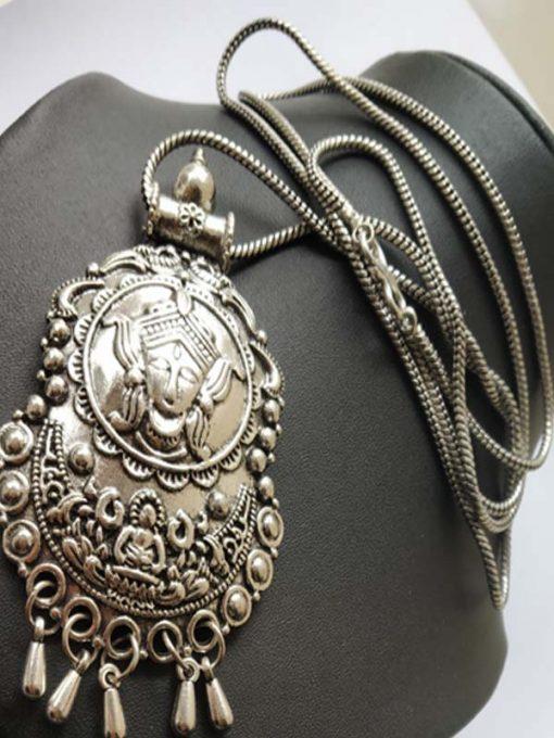 Trendilook German Silver Ganpati Long Neckpiece