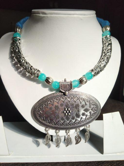 Trendilook German Silver Oveal Resham Neckpiece
