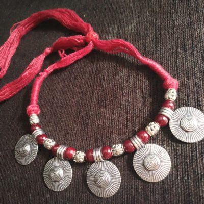 Trendilook Geometric Circle Beads Resham Neckpiece