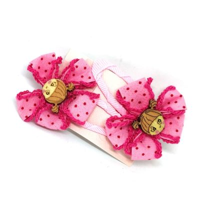 Jute Flower Multicolored Clips for Kids