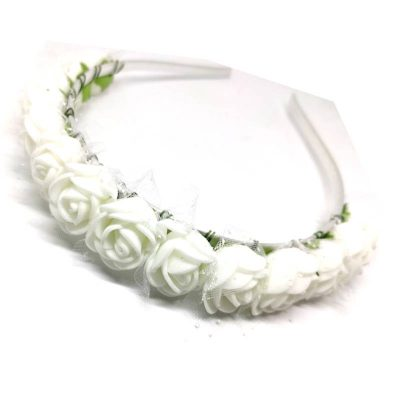 Trendilook White Rose Flower Decorated Tiara + Hairband for Kids