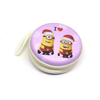 Minion Theme1 Coin Tin Purse with zipper for kids