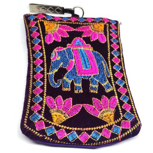 Trendilook Stylish Blue Velvet Mobile Pouch Sling Bag for Ladies and Girls