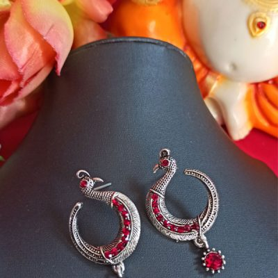 Trendilook Red Oxidized Peacock Jhumka