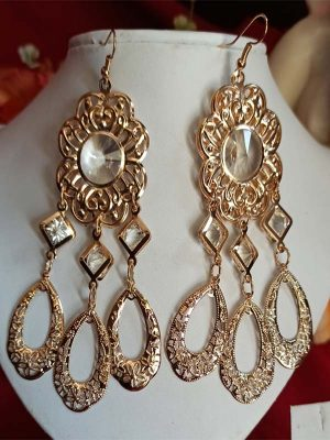 Trendilook Long Light Weight Gold Polished Drop Earring