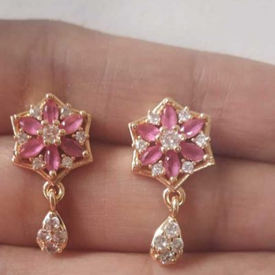 Trendilook Flower Pink AD cute Earring
