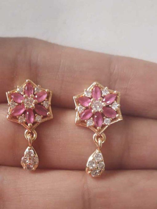 Trendilook Flower Pink AD cute Earring