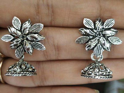 Trendilook Flower German Silver Drop Earring