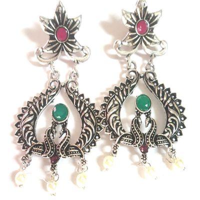Trendilook German Silver Kundan Earring