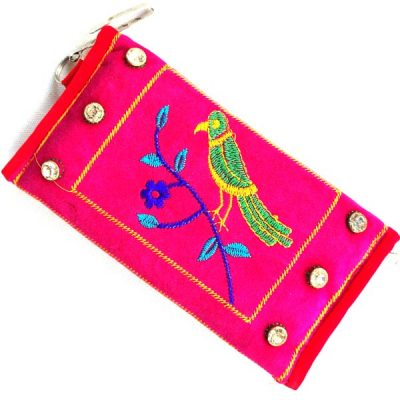 Trendilook Handmade Valvet Resham Pink Hand Wallet for Ladies and Girls