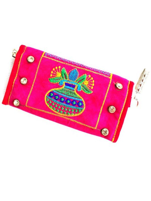 Trendilook Handmade Valvet Resham Pink Hand Wallet for Ladies and Girls