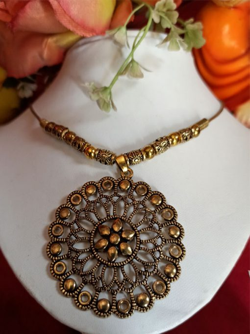 Trendilook Big Circle Oxidized Gold Neckpiece