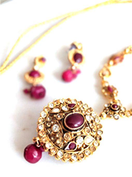 Trendilook Beautiful Maroon Color Kundan Stone Set for Ladies