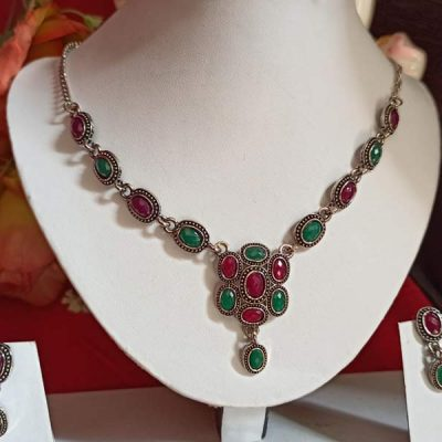 Trendilook Green Maroon Oxidized Silver Necklace Set
