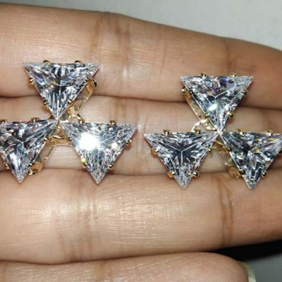 Trendilook Geometric Triangle Stud Crystal Earring
