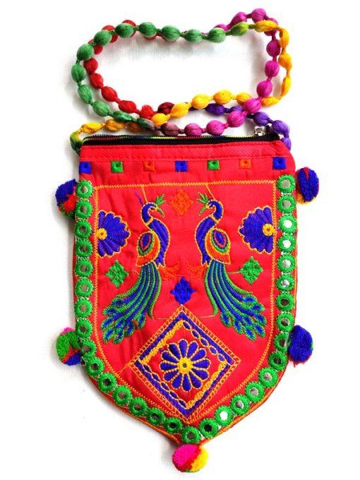 Trendilook Handmade Red Peacock Sling Bag for Ladies and Girls