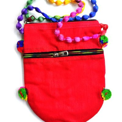 Trendilook Handmade Red Circle Sling Bag for Ladies and Girls