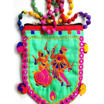 Trendilook Handmade Green Dandiya Sling Bag for Ladies and Girls