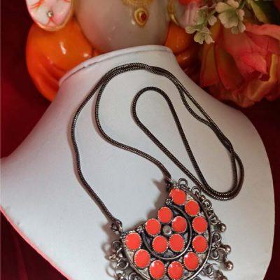 Trendilook German Silver Meenakari Orange Neckpiece