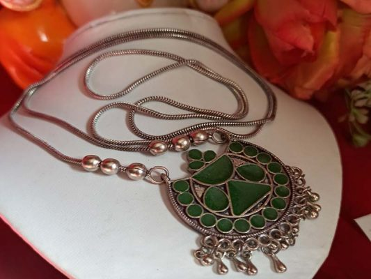 Trendilook German Silver Long Green Meenakari Neckpiece