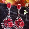 Trendilook Premium Quality Party Wear Oveal Shape Red Crystal Drop Earring