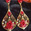Trendilook Premium Quality Party Wear Patel Shape Red Crystal Drop Earring