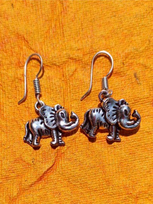 Trendilook German Silver Boho Style Stud Ganesha Earring