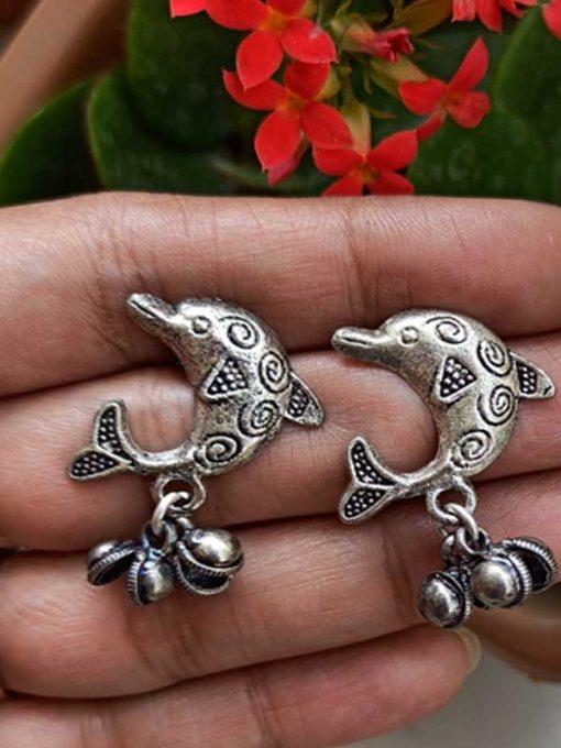 Trendilook German Silver Boho Style Stud Dolphin Earring